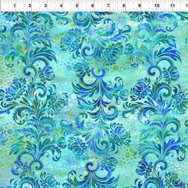 Dotted Flourish - Blue, Floragraphix, In The Beginning Fabrics 01293550821
