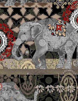 Elephants black, Timeless Treasures 07061850621
