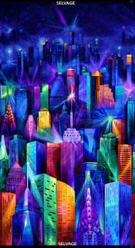 "24"" Electric Skyline Panel, Nightlife by Chong-a Hwang, Timeless Treasures 08087050619"