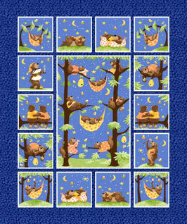 Navy Baron the Bear Quilt Panel, Susybee 02431850720