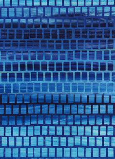 Hellblaue Vierecke auf dunkelblau, Batik, Anthology Fabrics, 01132550817