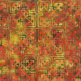 Grünes Raster auf orangen Grund, Batik, Anthology Fabrics, 08029550719