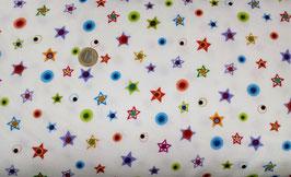 bunte Sterne und Kreise auf weiß, Googlies Flannel, Benartex 06640050515