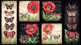 Multi Harlequin Poppies Craft Panel, Susan Winget, Wilmington Prints 10036850620
