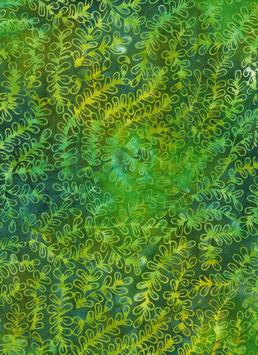 Grüne Ranken auf grün, Batik, Anthology Fabrics, 05052550817