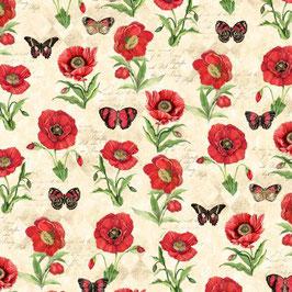 Cream Poppies & Butterflies , Susan Winget, Wilmington Prints 11157050620