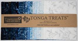 5in Squares Tonga Batik Blue Moon, Timeless Treasures
