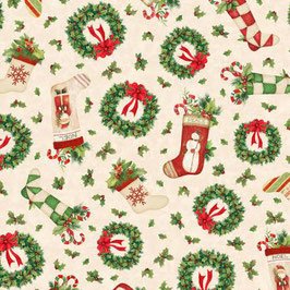 Tan Holiday Toss , Evergreen Farm, Wilmington Prints 07319450620
