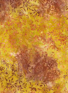 Orange und braune Ranken auf braun und gelb, Batik, Anthology Fabrics, 01202550817