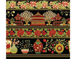 Black Red Border, Summer Palace, Lessa Chandler, The Textile Pantry, 05291950819