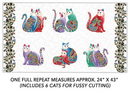 Cats, White Multi, PurrFect Together for Benartex by Ann Lauer, Panel 11057850718