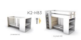 Umbau-Set Kinderbett zu Hochbett mit Schreibtisch / Bank