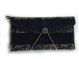 Clutch / Abendtasche aus schwarz-goldenem Plissestoff - Theater, Oper, Dinner oder Club - geht immer