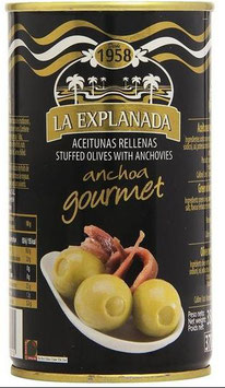 Grüne Oliven gefüllt mit Sardellenpaste (anchoa gourmet) 350 g Dose