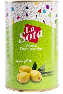 Oliven aus Spanien , grün, ohne Füllung,   350 g Dose,   La Sota
