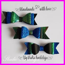 Drie kleine haarstrikken blauwe glitter, mat zwart en olie groen kunstleer