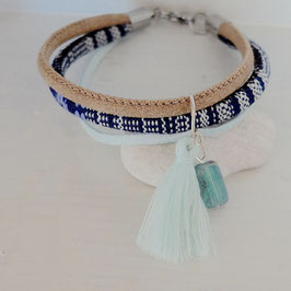 Wickelarmband Vegan Boho Blau-Mix