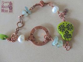 """Kupfer-Armband """"Los Muertos"""" Verde"""