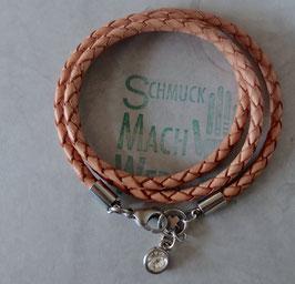 "Wickel-Armband Leder ""Natur geflochten"""