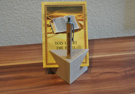 Holzwürfel mit Kugelschreiber aus Buchenholz