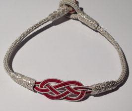 Silberkordel Armband mit Rotem Infinity, Knebelverschluss