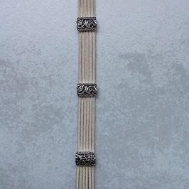 Silber Armband rechteckige Ranken- Spangen Agraffen, doppelter Steckverschluss