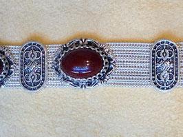 Silber Armband breit, 3 ovale Achat- Cabochon Steine Agraffen mit Zwischenspangen