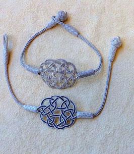 Silber Kordel Armband mit ENDLOSknoten, Knebelverschluss