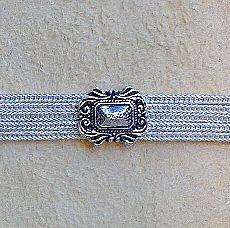 Silber Armband schmal, oval/ eckiger rankengefasster erhobener Spiegel Agraffen