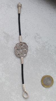 Silber Endlosknoten Armband an schwarzer Satinkordel