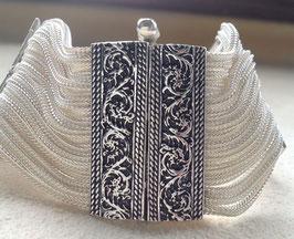 Silber Armband breit, rechteckige Ranken- Spangen Agraffen