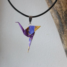 COLLIER CORDON FLAMAND ROSE ORIGAMI