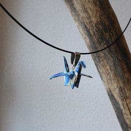COLLIER RIGIDE GRUE EN VOL ORIGAMI