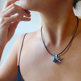 COLLIER CORDON GRUE EN VOL ORIGAMI