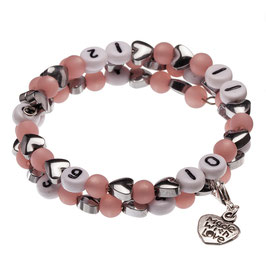 Stillarmband Hearts in rosa