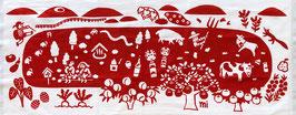 手ぬぐい:宮城蔵王戯画ー赤
