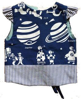 肩フリル シマスモック:天文台ー青