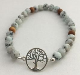 Granit Sandelholz Lebensbaum Silber 925