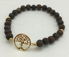 Bronzit Lebensbaum Silber 925 vergoldet
