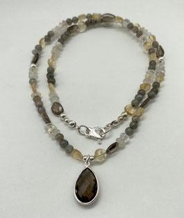Halskette gemischt Anhänger Rauchquarz Silber 925
