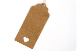 25 Geschenk-anhänger in braun oder weiß 4 x  9 cm inkl. Bändchen