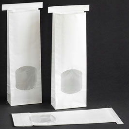 Weiße Blockbodenbeutel mit Fenster 275x90x45 mm für ca. 250 g