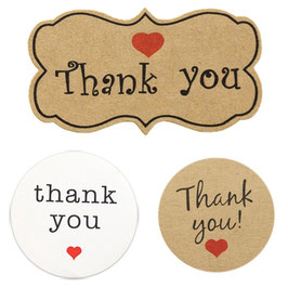 "10 Sticker mit Aufdruck ""thank you"""