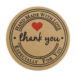 "10 Stück Sticker ""Handmade with love"" in braun"