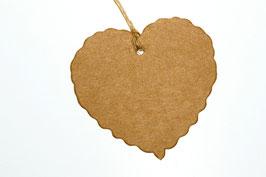 25 Geschenk-anhänger in braun oder weiß, Herz