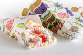"Spitztüten aus Papier, Aufdruck ""Bonbons"""