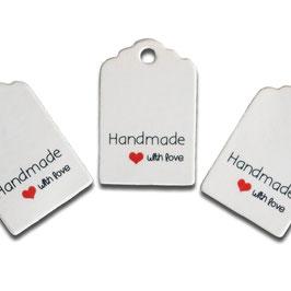 """12 kleine Geschenk-anhänger in weiß """"Handmade With Love"""""""