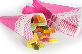 """Spitztüten aus Papier, Aufdruck """"pink mit weißer Bordüre"""""""
