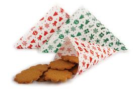 Spitztüten Gingerbread, in grün oder rot