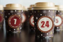 DIY Adventskalender aus braunen Coffee to go - Bechern